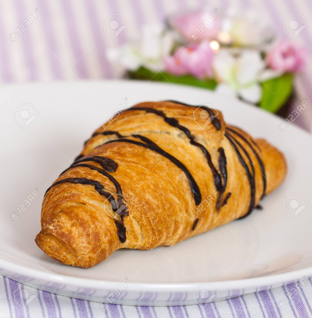 cappuccino and chocolate croissant ,business breakfast Stock Photo - 8856366