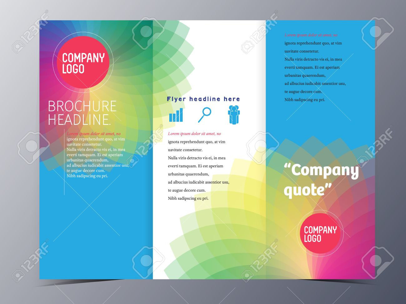 colorful flora shape brochure template tri fold vector illustration