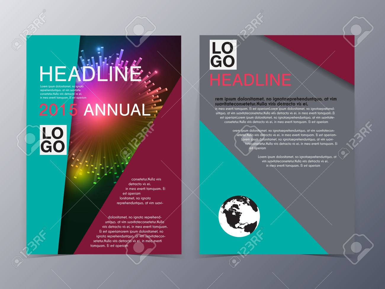 Colorful Line Graphic Style Brochure Template Trifold Vector - Brochure template tri fold