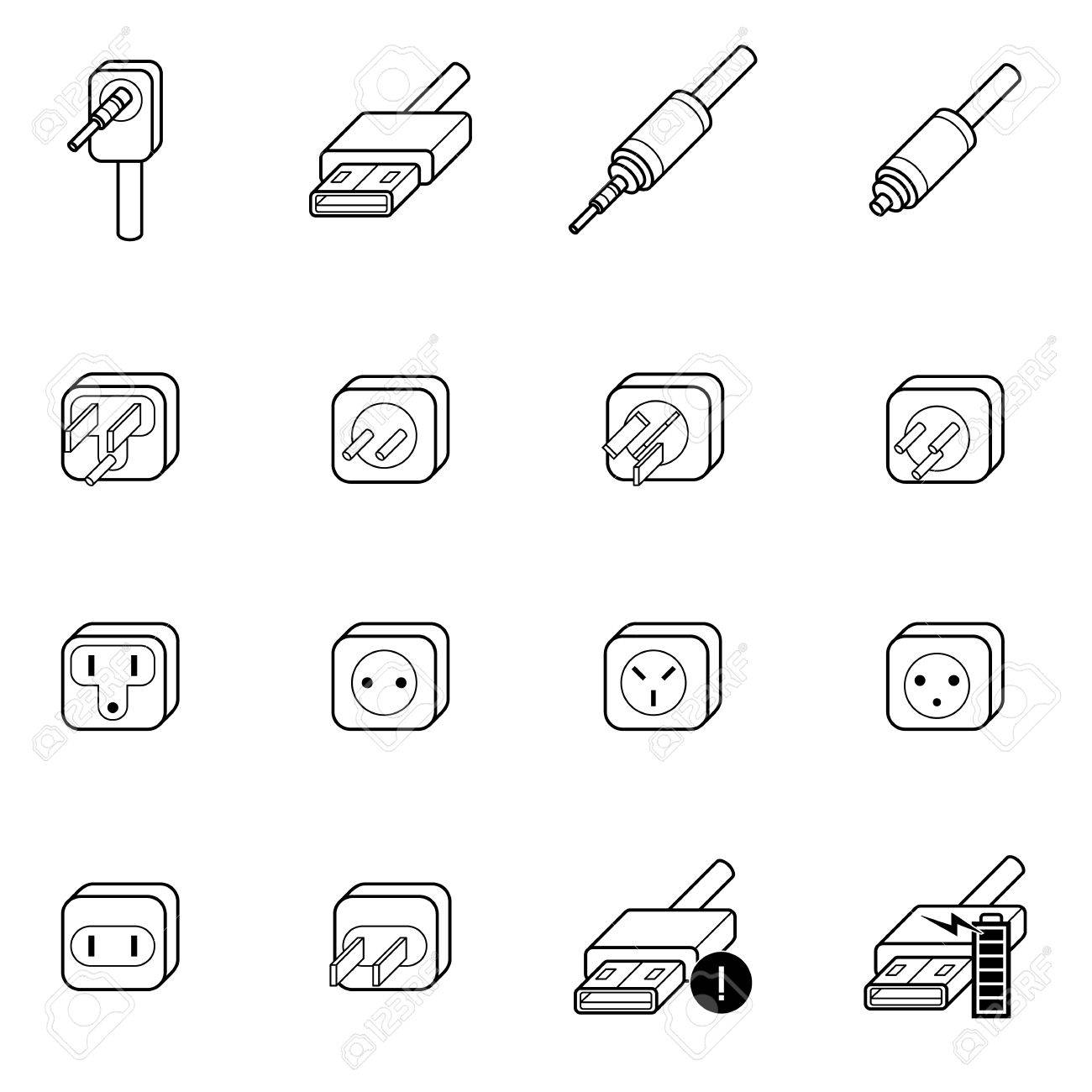 Wire Icons Set Center Aabrands A Audiopulseelectronicsawa 8300f001906awajpg Electric Outlet Cable And Plug Vector Illustration Rh 123rf Com Technology Icon Ach