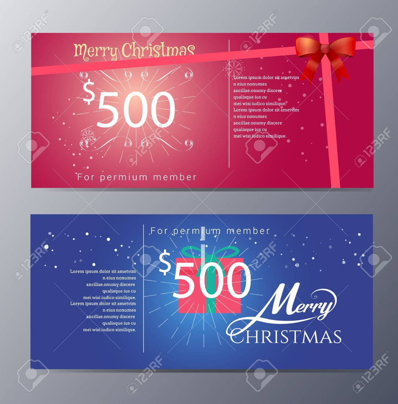 christmas gift voucher template colorful modern style royalty vector christmas gift voucher template colorful modern style