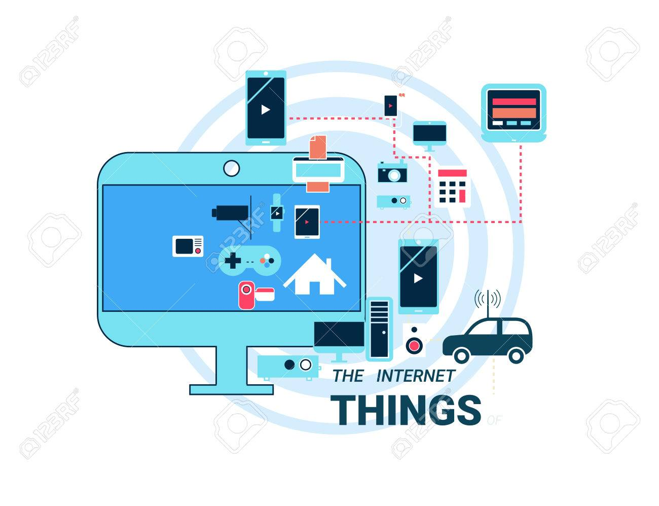 Smart Appliances In Network. Concept For Internet Of Things Showing ...
