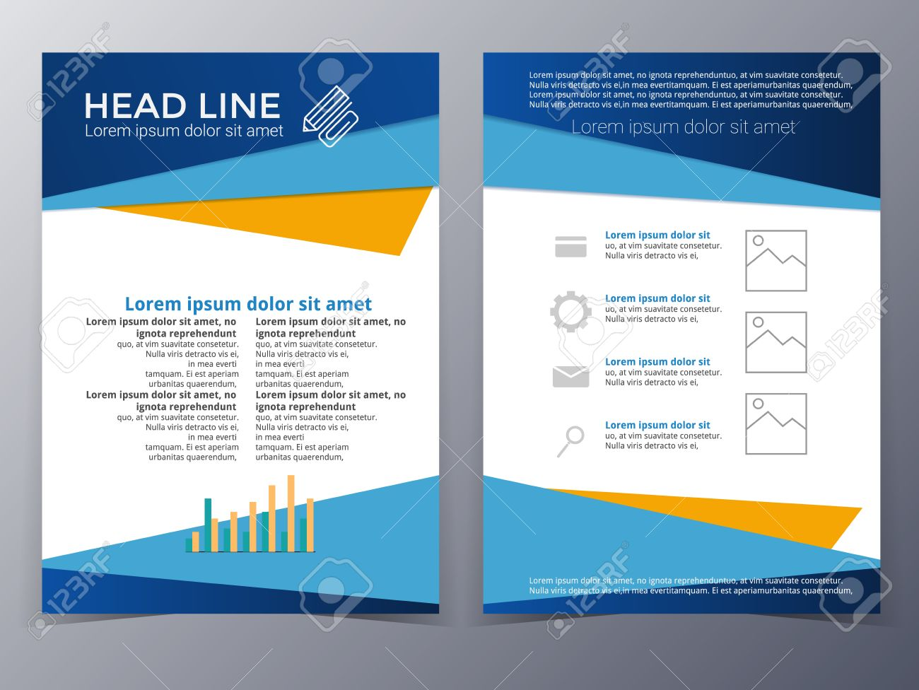 Business And Technology Brochure Design Template In A4 Size For Use As  Company Annual Report,