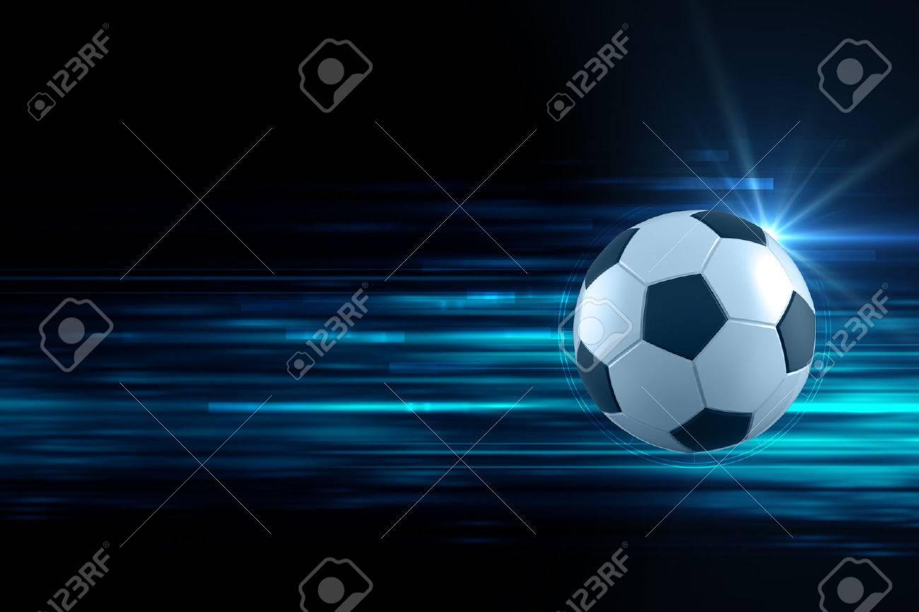 3d ilustración de balón de fútbol en fondo azul racha de luz se puede  utilizar en b3abce7f8b915