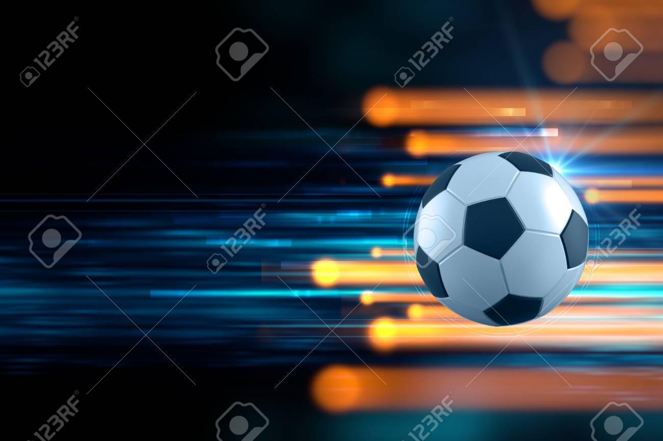Immagini Stock Illustrazione 3d Di Pallone Da Calcio In Blu Sfondo