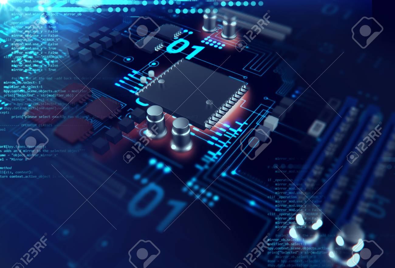 Circuito Z : Representación 3d futurista azul placa de circuito de fondo