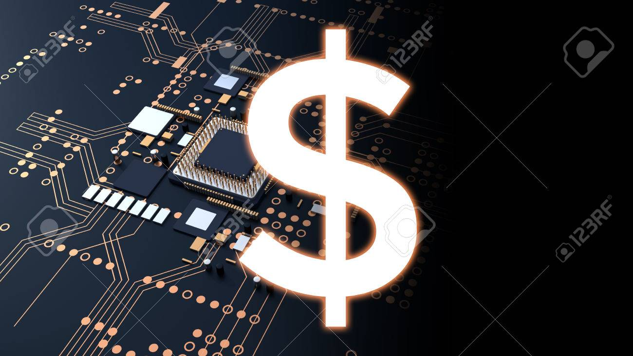 Dollar Sign On 3d Rendering Futuristic Blue Circuit Board Background ...