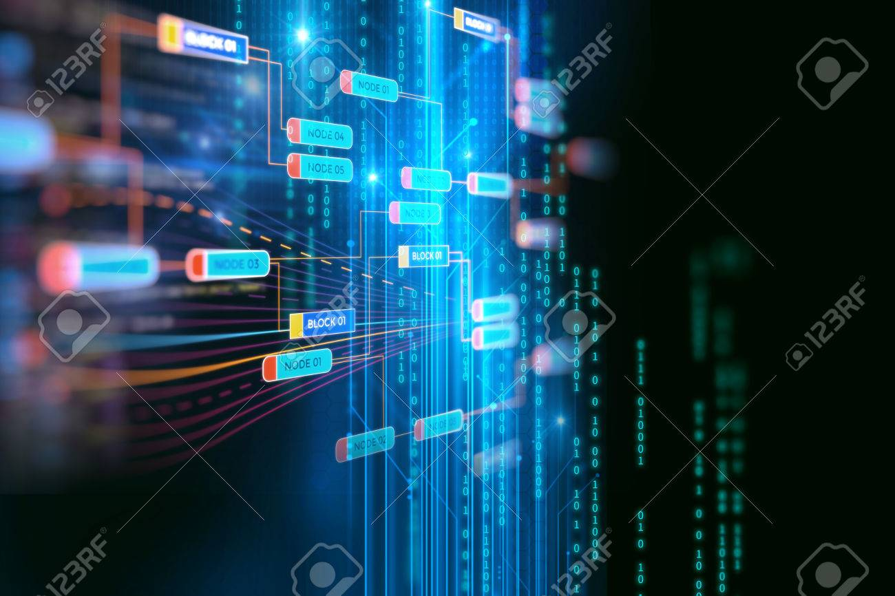 Block chain network and programming concept on technology background - 75527520