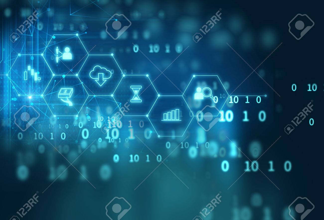fintech icon on abstract financial technology background represent Blockchain and Fintech Investment Financial Internet Technology Concept. - 75860547
