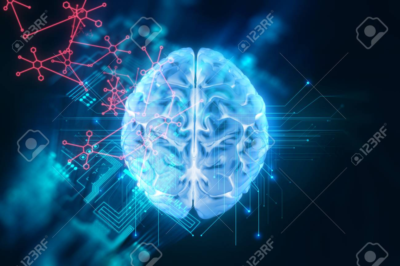 3d rendering of human brain on technology background represent artificial intelligence and cyber space concept - 76530590