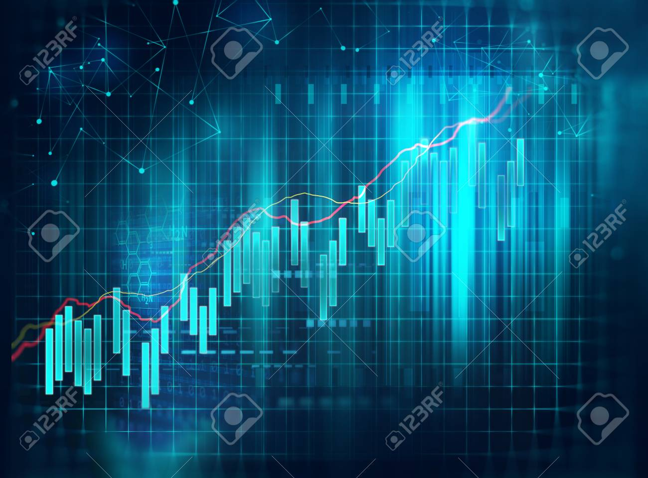 financial stock market graph on technology abstract background - 80673992