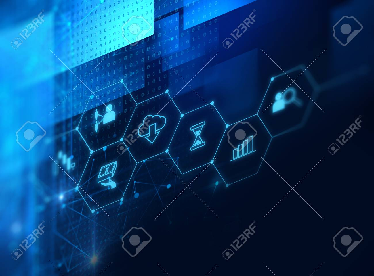 fintech icon on abstract financial technology background represent Blockchain and Fintech Investment Financial Internet Technology Concept. - 80676790