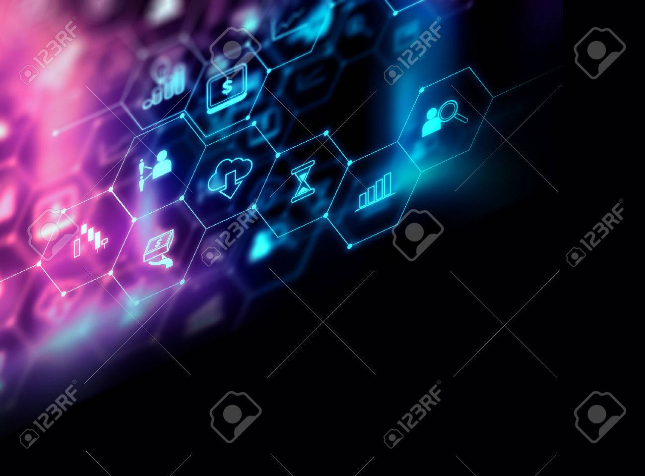 fintech icon on abstract financial technology background represent Blockchain and Fintech Investment Financial Internet Technology Concept. - 80676795