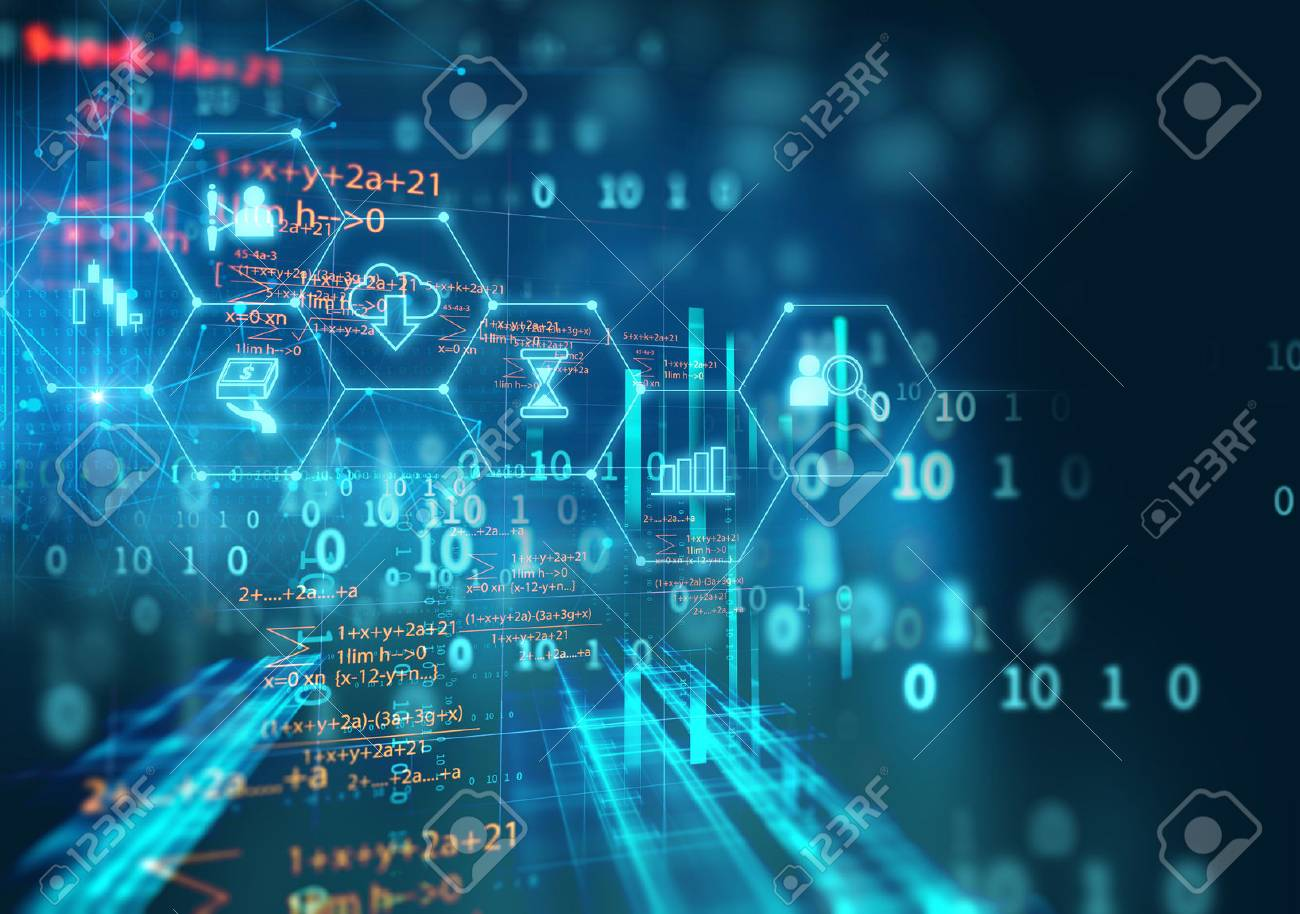 fintech icon on abstract financial technology background represent Blockchain and Fintech Investment Financial Internet Technology Concept. - 81050251