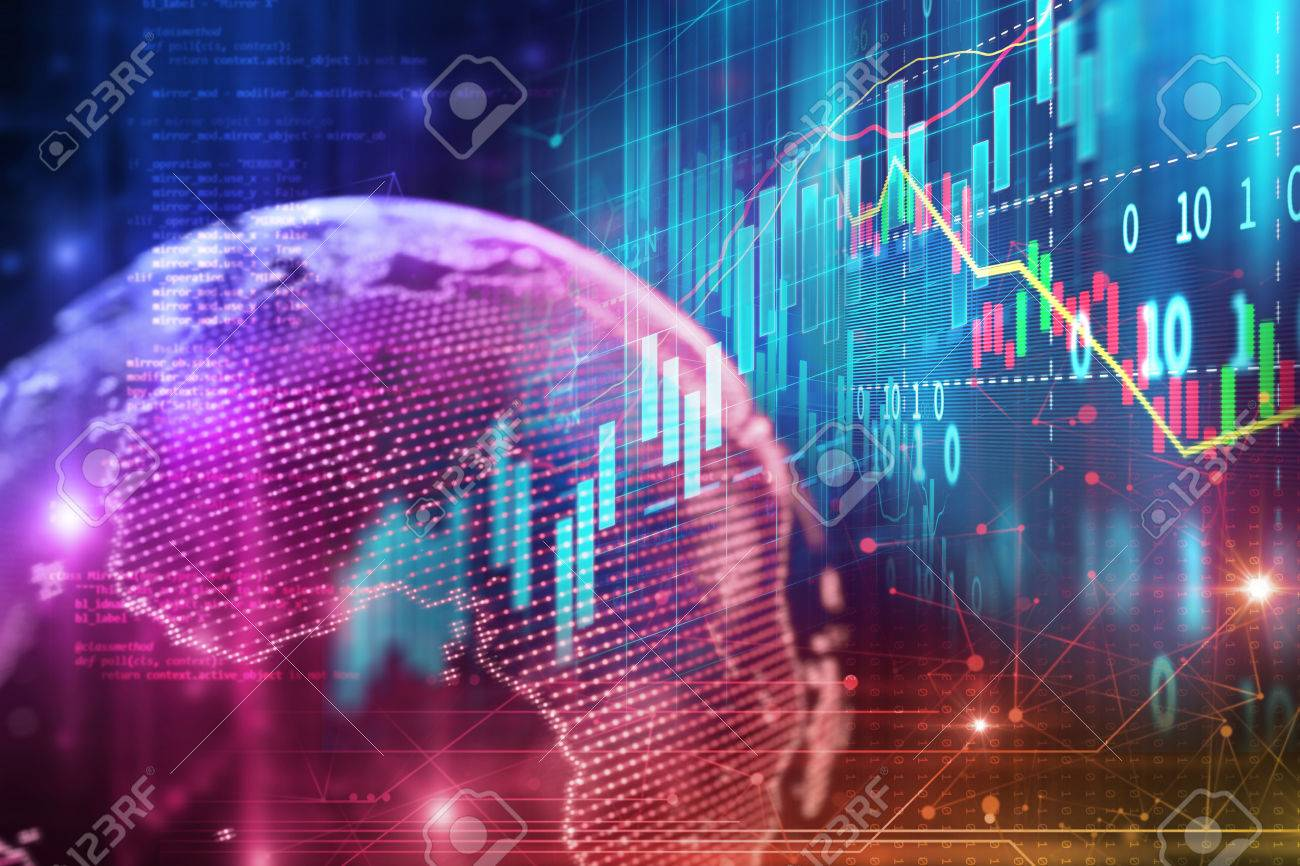 financial stock market graph on technology abstract background - 81586438