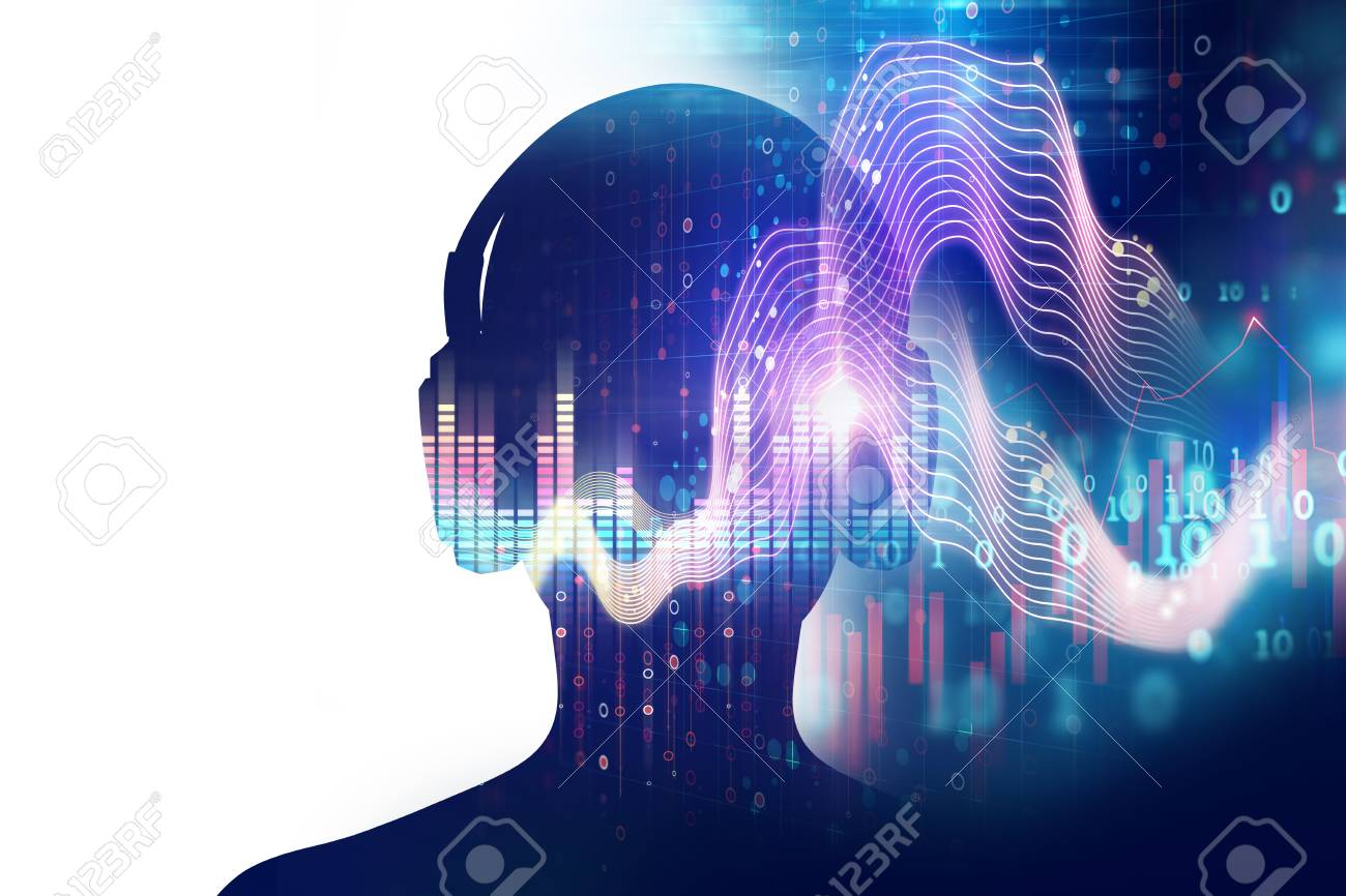 3d illustration of human with headphone on audio waveform abstract