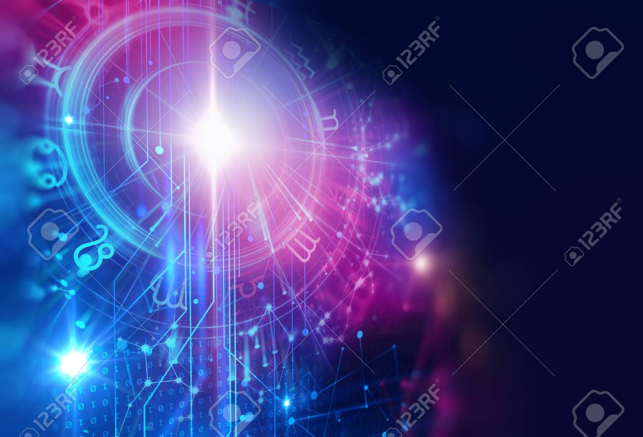 Backdrop design of sacred zodiac symbols, signs, geometry and designs represent concept of astrology, alchemy, magic, witchcraft and fortune telling - 85197309