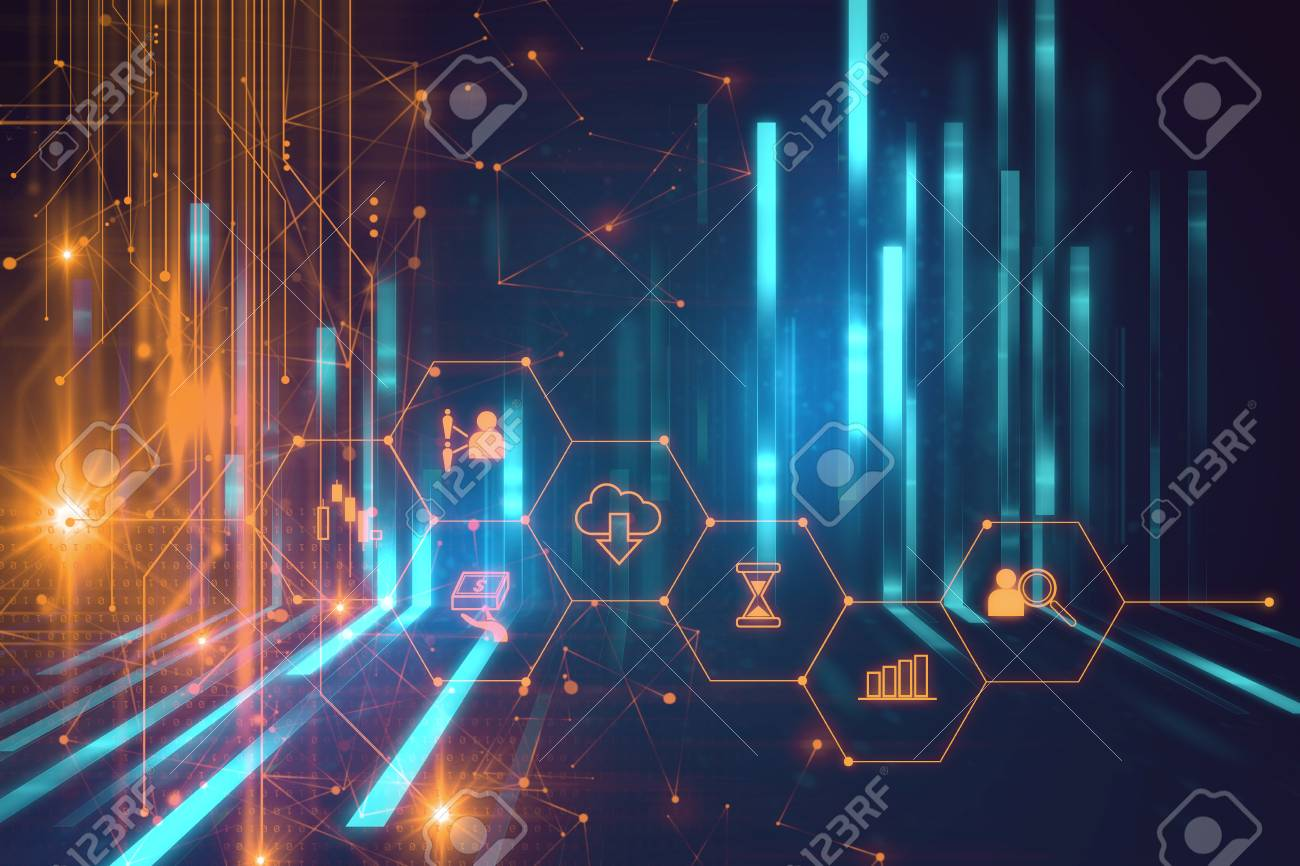 fintech icon on abstract financial technology background represent Blockchain and Fintech Investment Financial Internet Technology Concept. - 87405291