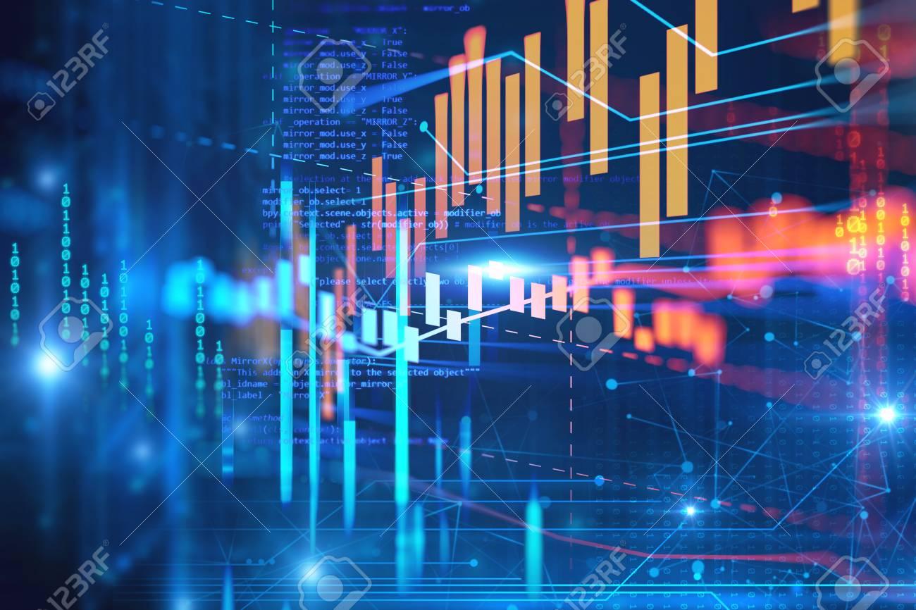 技術の抽象的な背景の金融、株式...