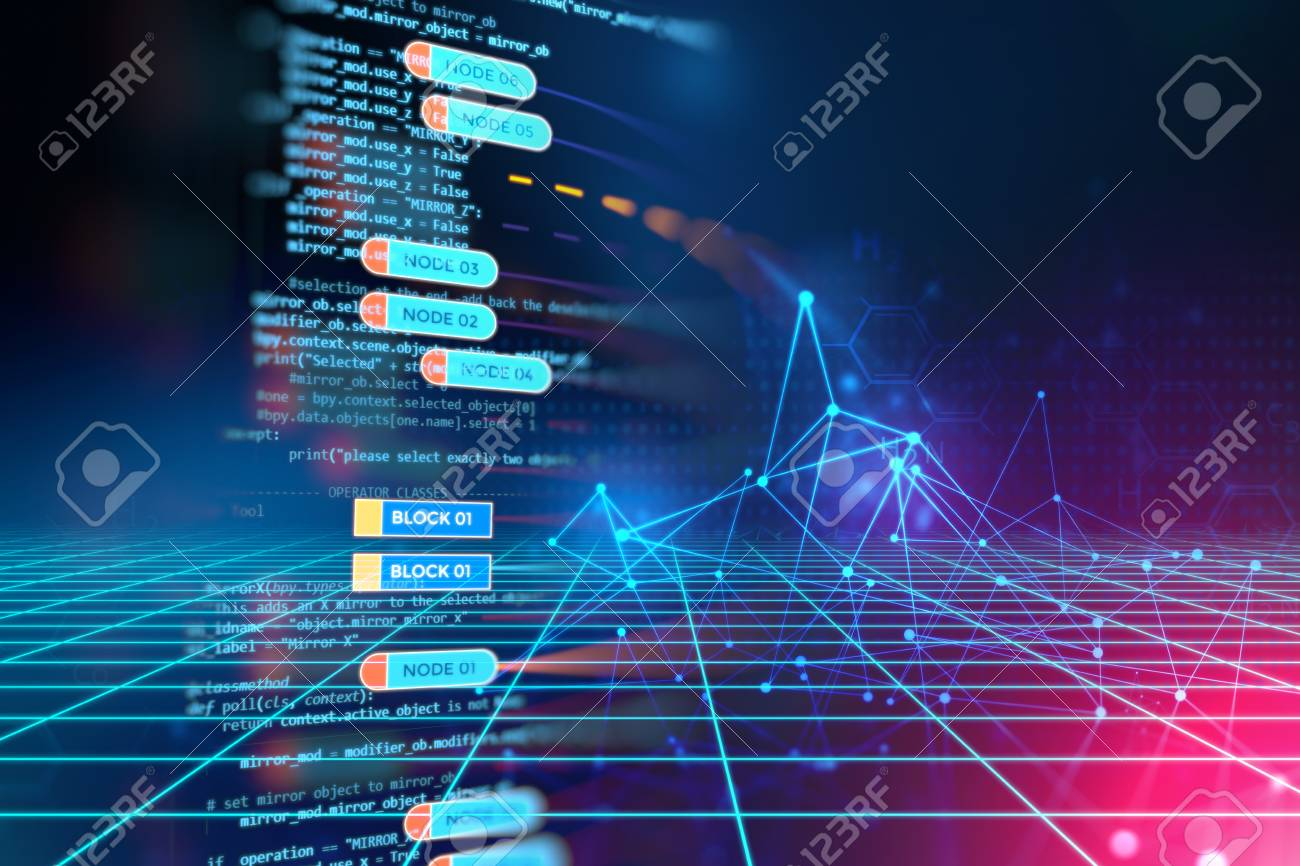 Abstract Futuristic infographic with Visual data complexity , represent Big data concept, node base programming - 90381991