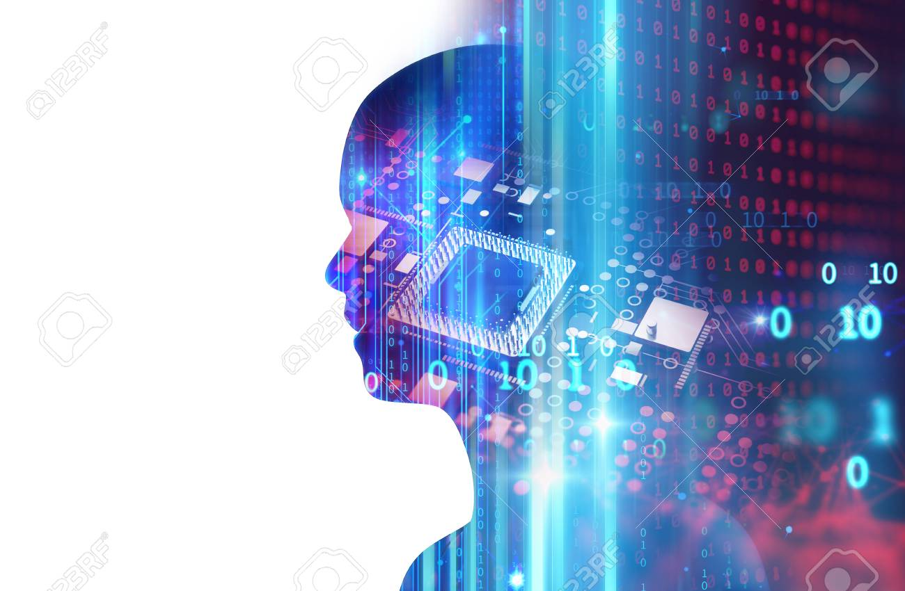 silhouette of virtual human on abstract technology 3d illustration , represent artificial technology. - 90460889