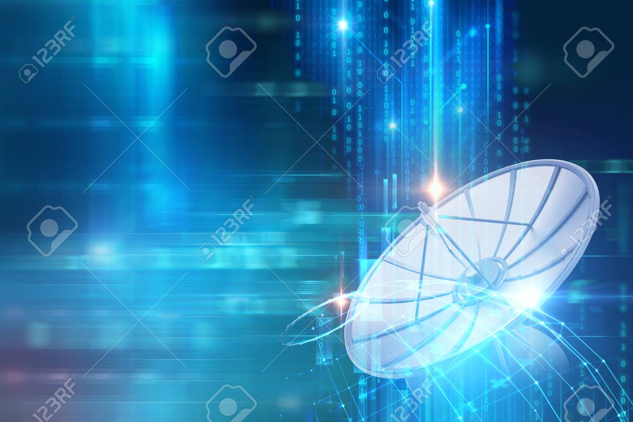 3d illustration of Satellite dish transmission data on abstract technology background - 94743766