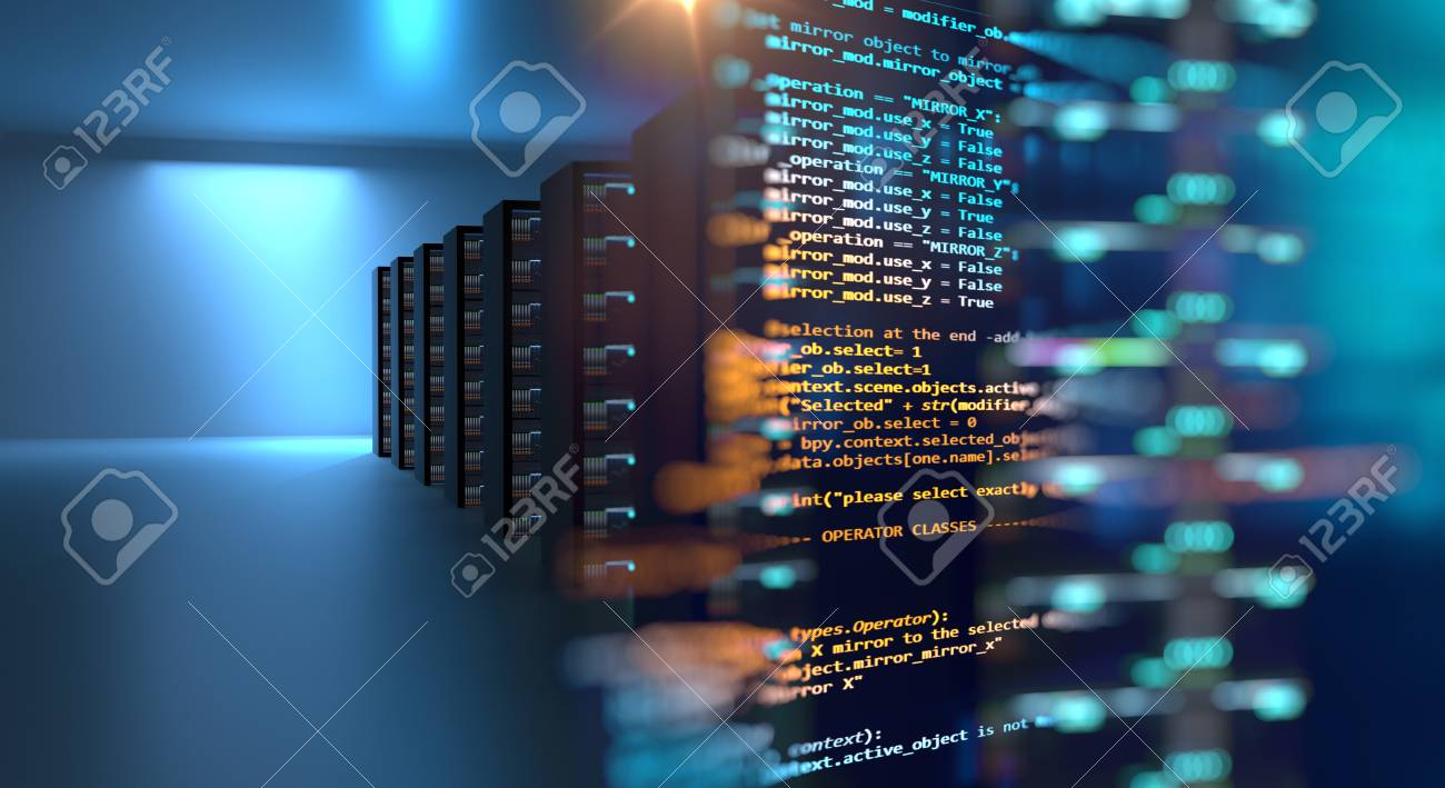 server room 3d illustration with node base programming data design element.concept of big data storage and cloud computing technology. - 95713047
