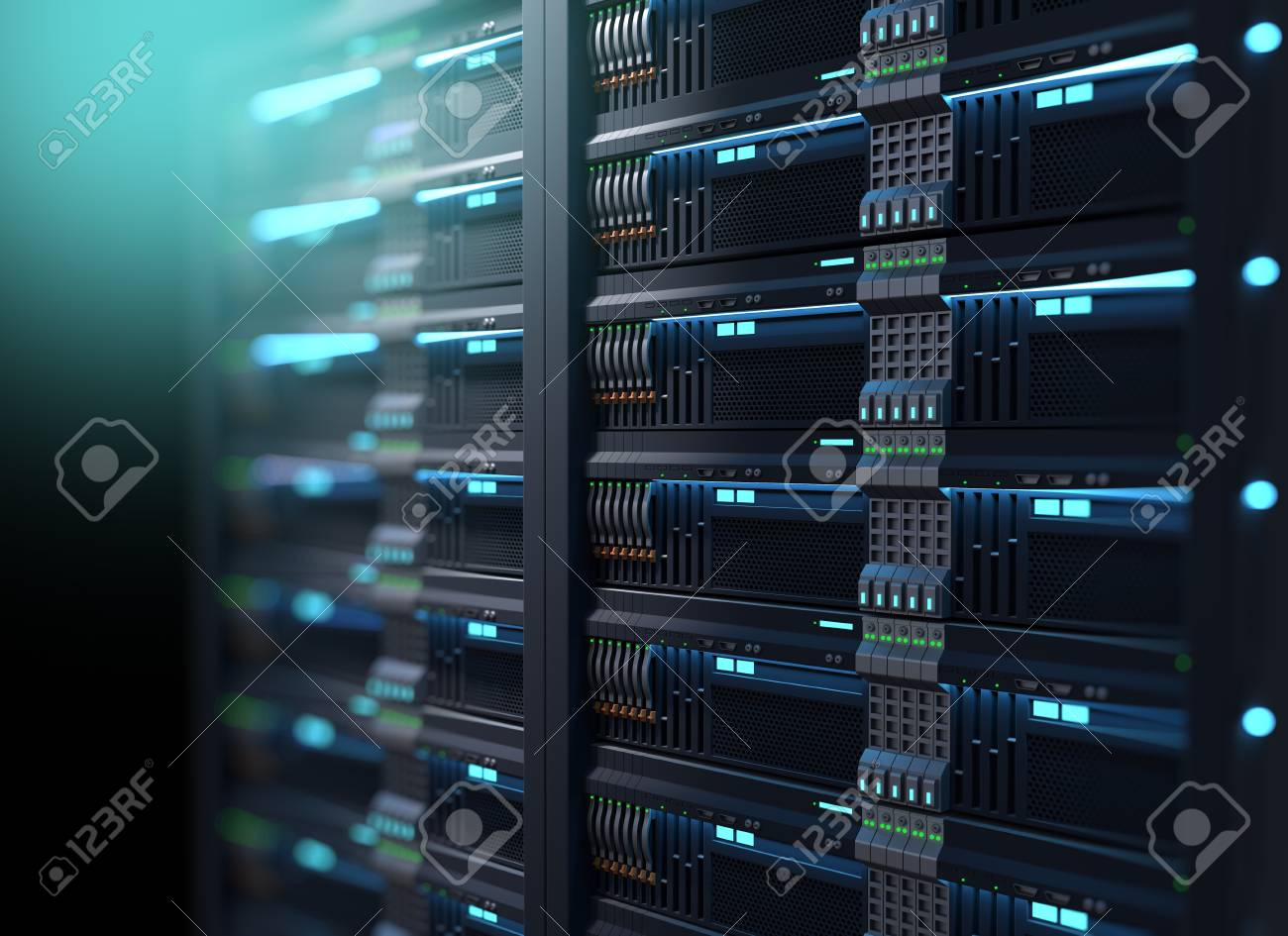 3D illustration of super computer server racks in datacenter,concept of big data storage and mining cryptocurrency. - 95713067