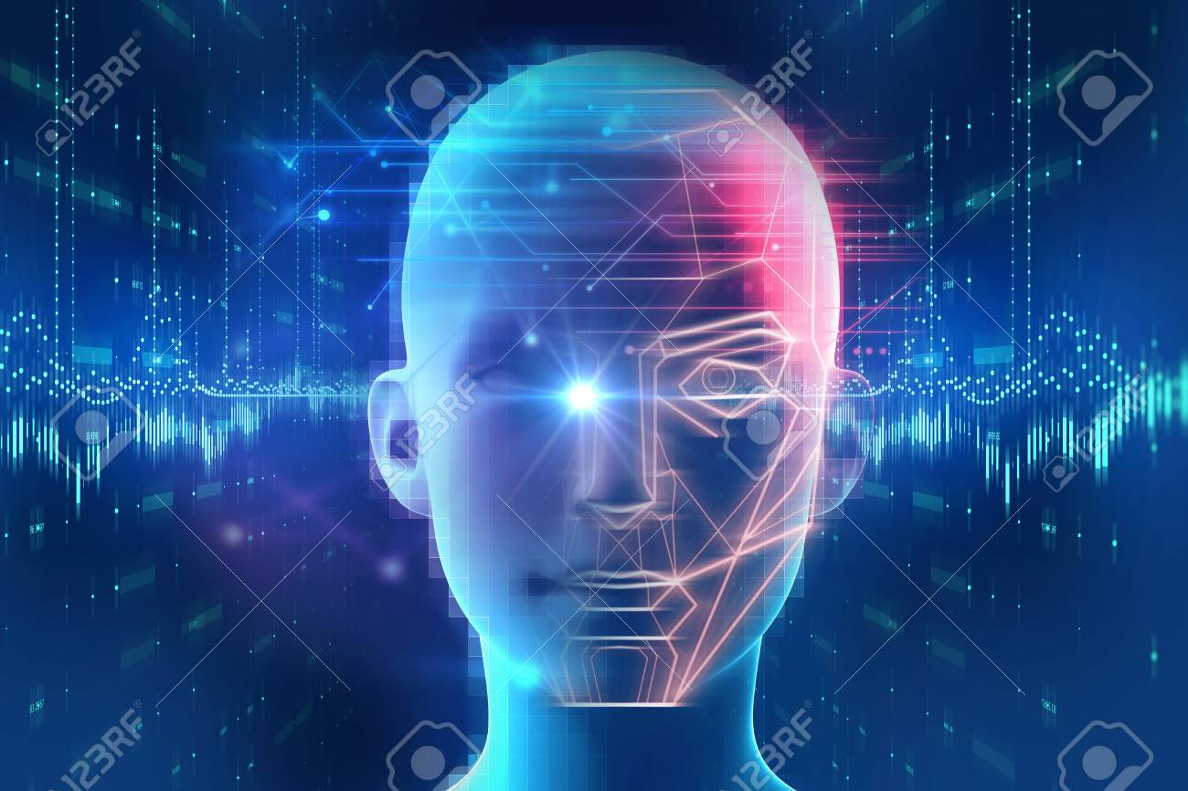 Face detection and recognition of digital human 3d illustration.Concept of Computer vision and artificial intelligence and biometric facial identification. - 96678476