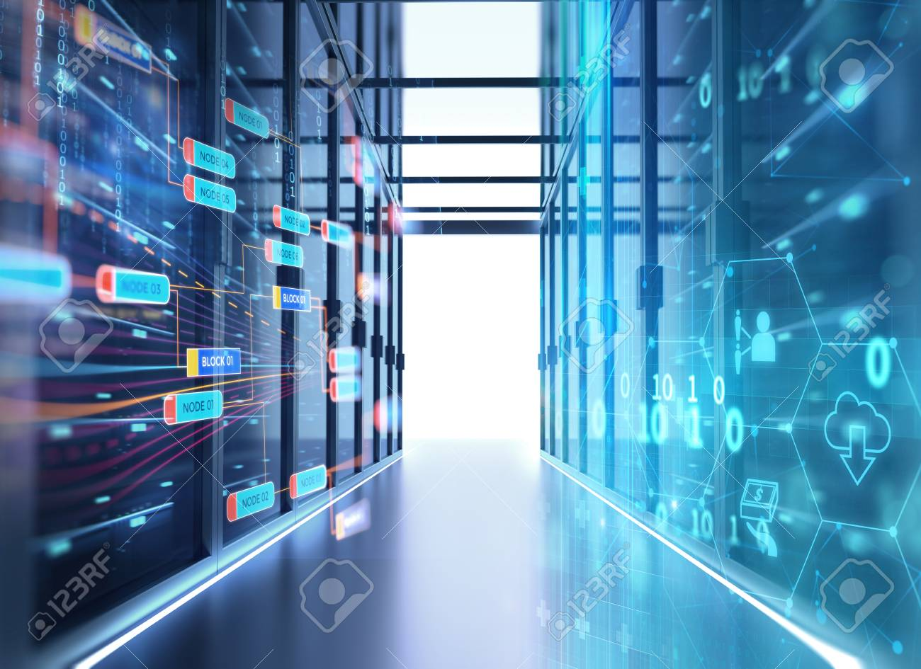 3D illustration of server room in data center full of telecommunication equipment,concept of big data storage and cloud computing technology. - 97031622