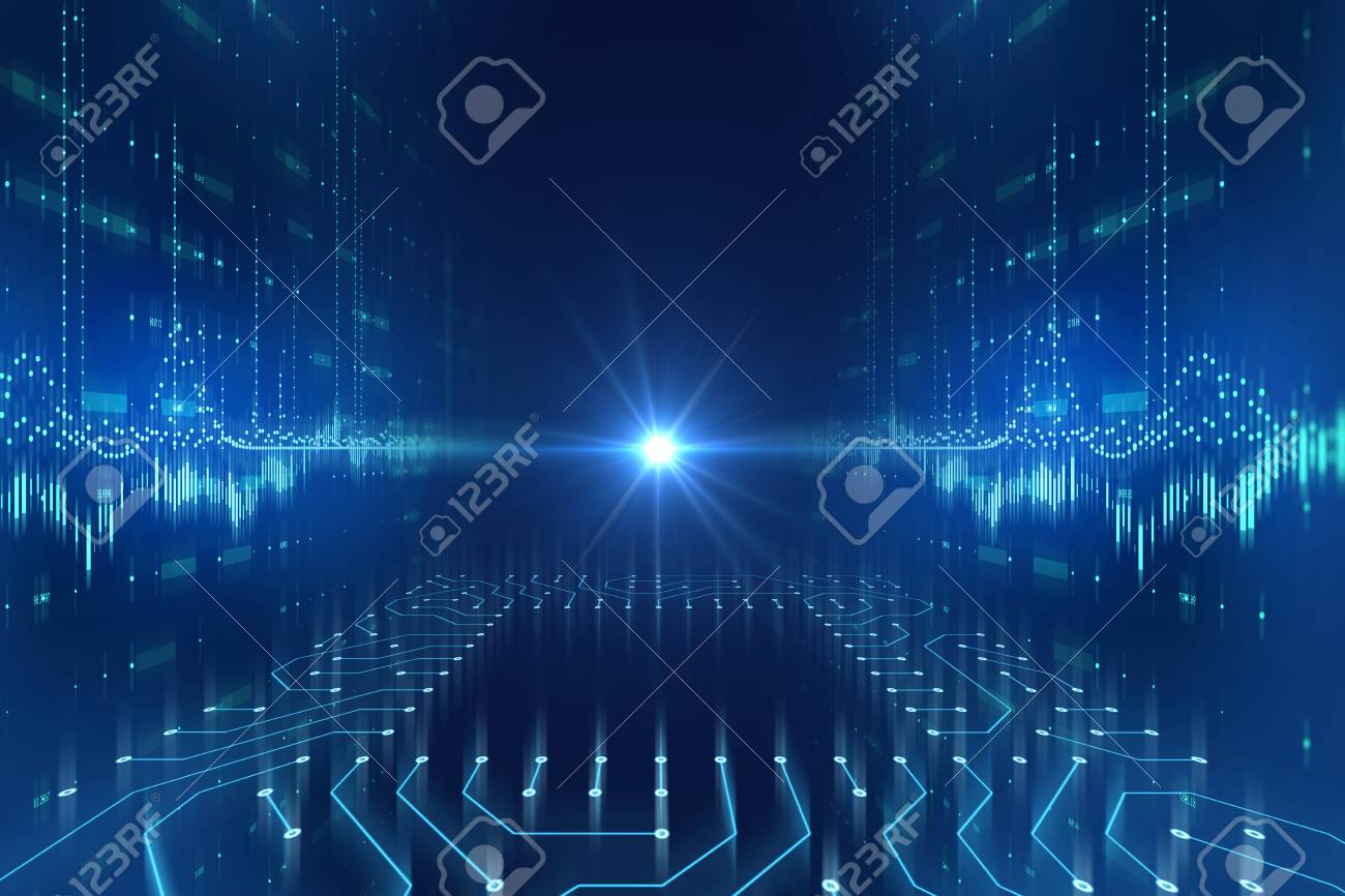 futuristic blue circuit pattern abstract background illustration,concept of cyber space and ai. - 97255355