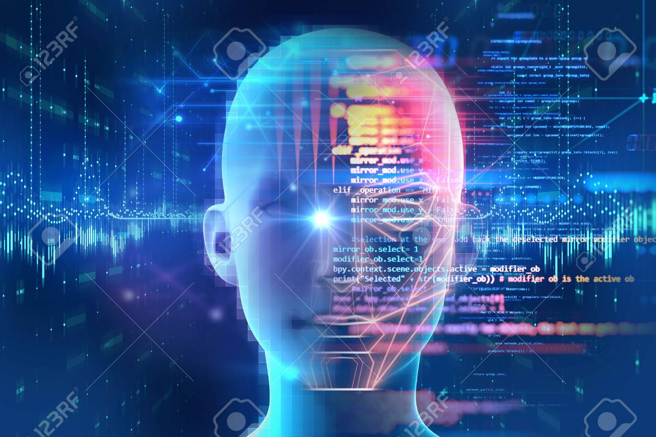Face detection and recognition of digital human 3d illustration.Concept of Computer vision and artificial intelligence and biometric facial identification. - 98145845