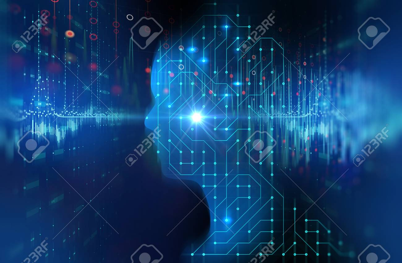 silhouette of virtual human on circuit pattern 3d illustration , represent artificial technology. - 101926395