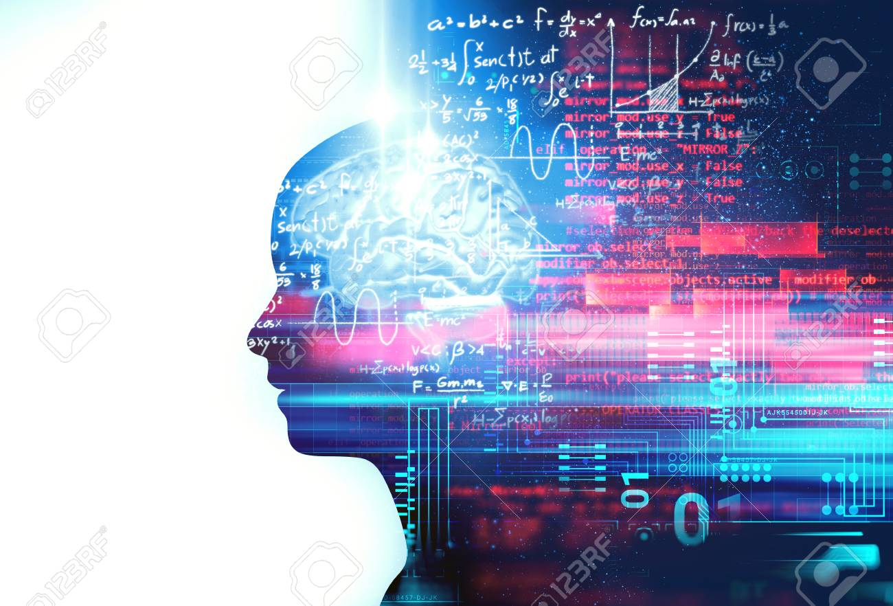 silhouette of virtual human on handwritten equations 3d illustration , represent artificial technology and creativity education. - 110689581