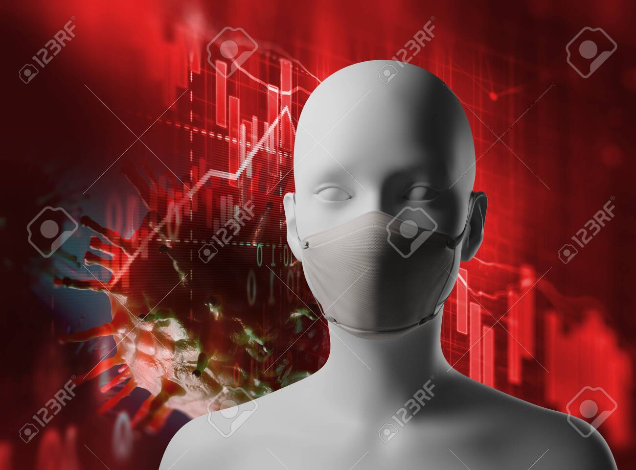 Microscope close up of covid 19 virus and human wearing mask on business graph concept of economic crisis. - 143875177