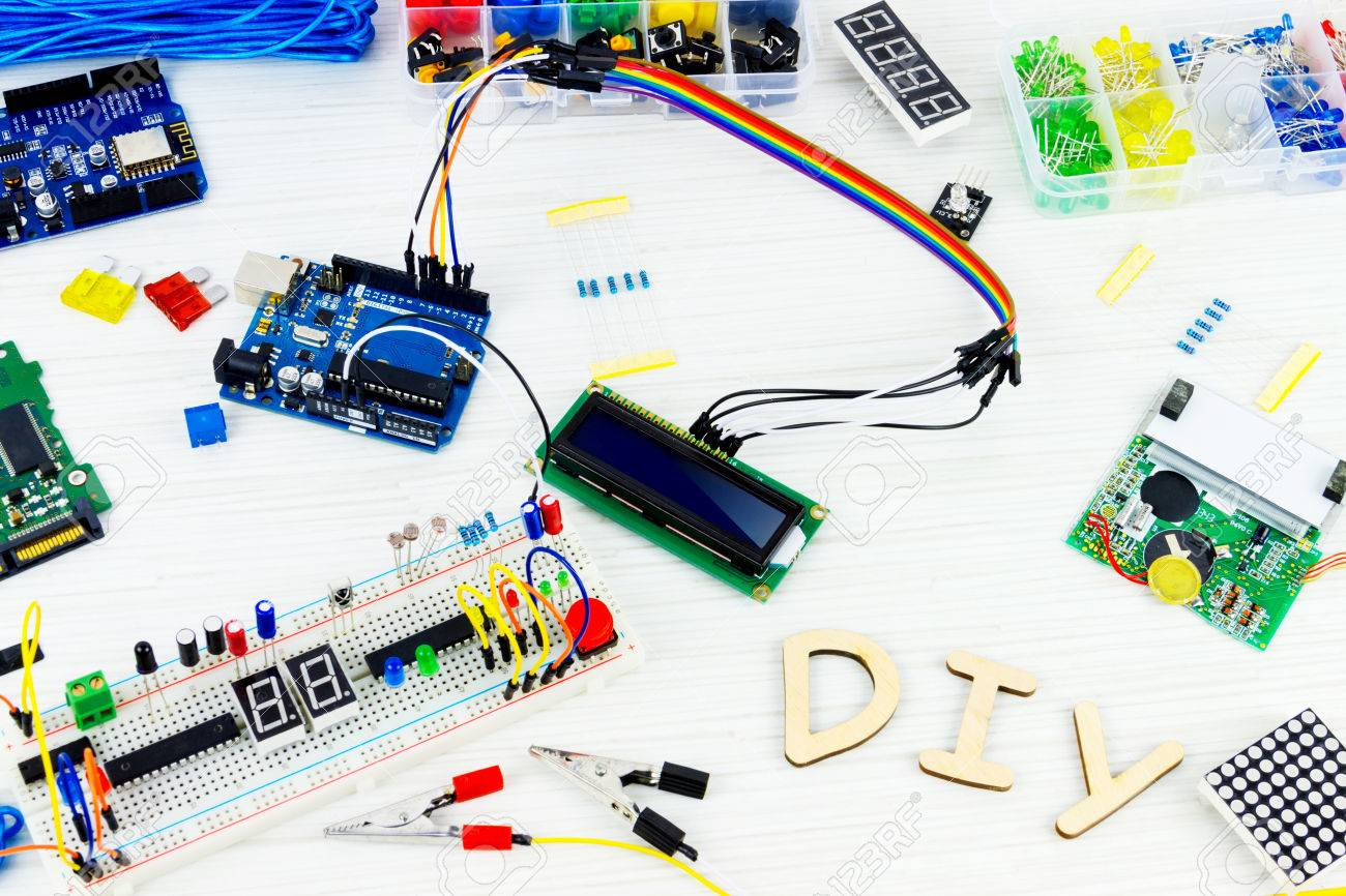 Microcontrollers, Chips, Resistors And Light-emitting Diodes.. Stock ...