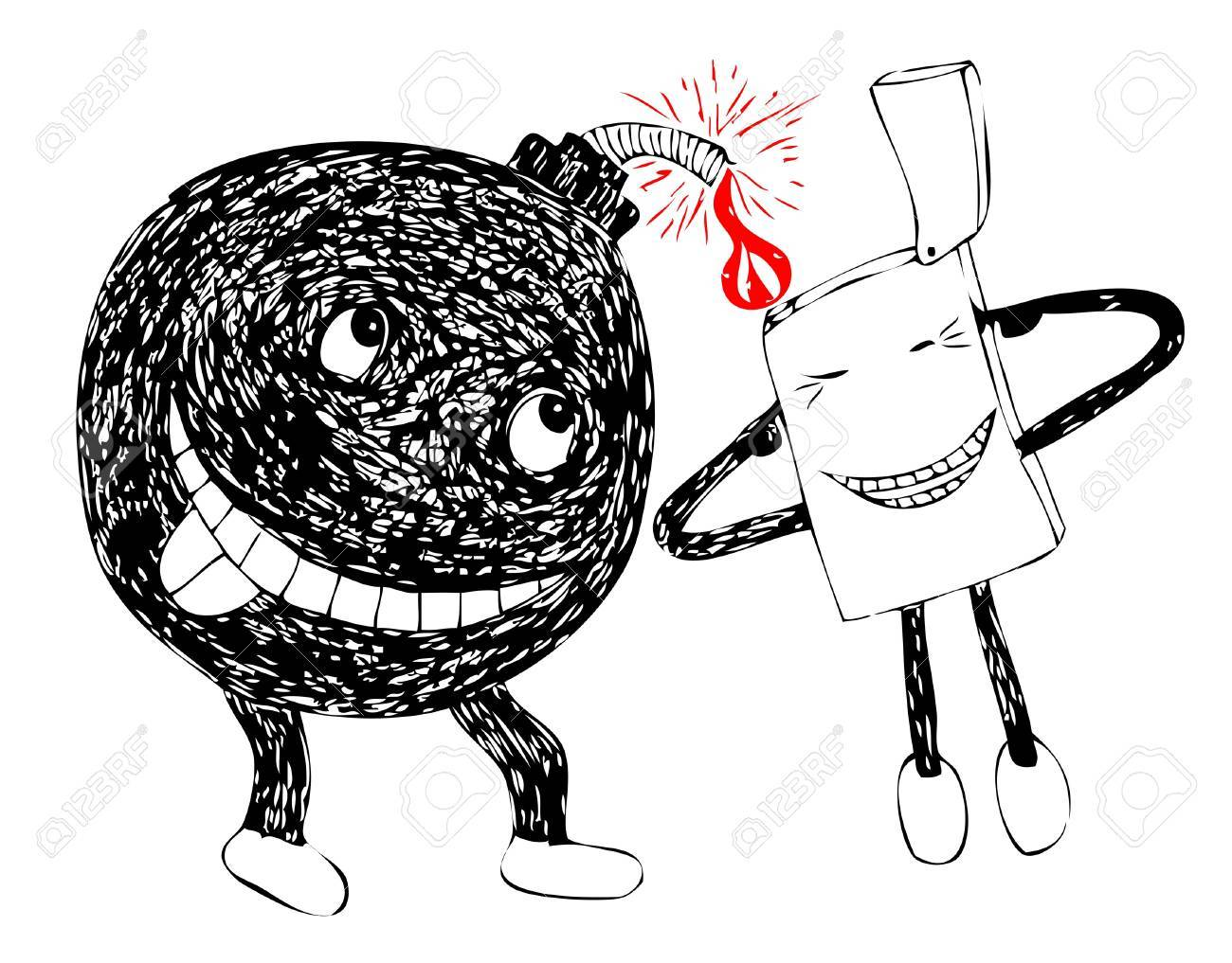 funny bomb and lighter ready to blow up Stock Vector - 9574469