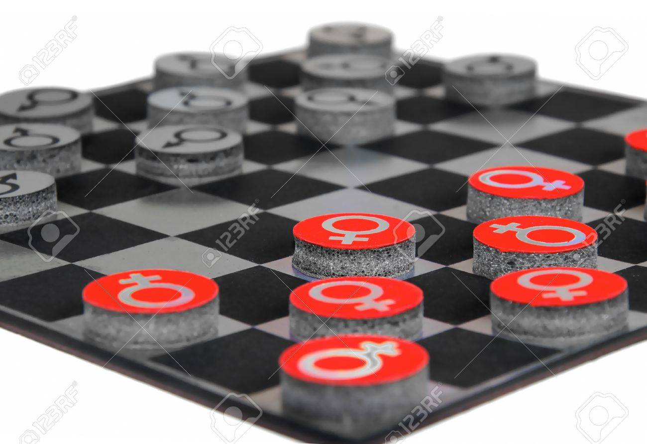 concept with male and  female gender symbols playing checkers Stock Photo - 10179078