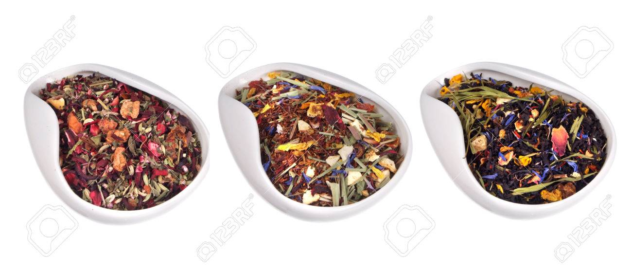 set of different teas isolated on white background Stock Photo - 25725986