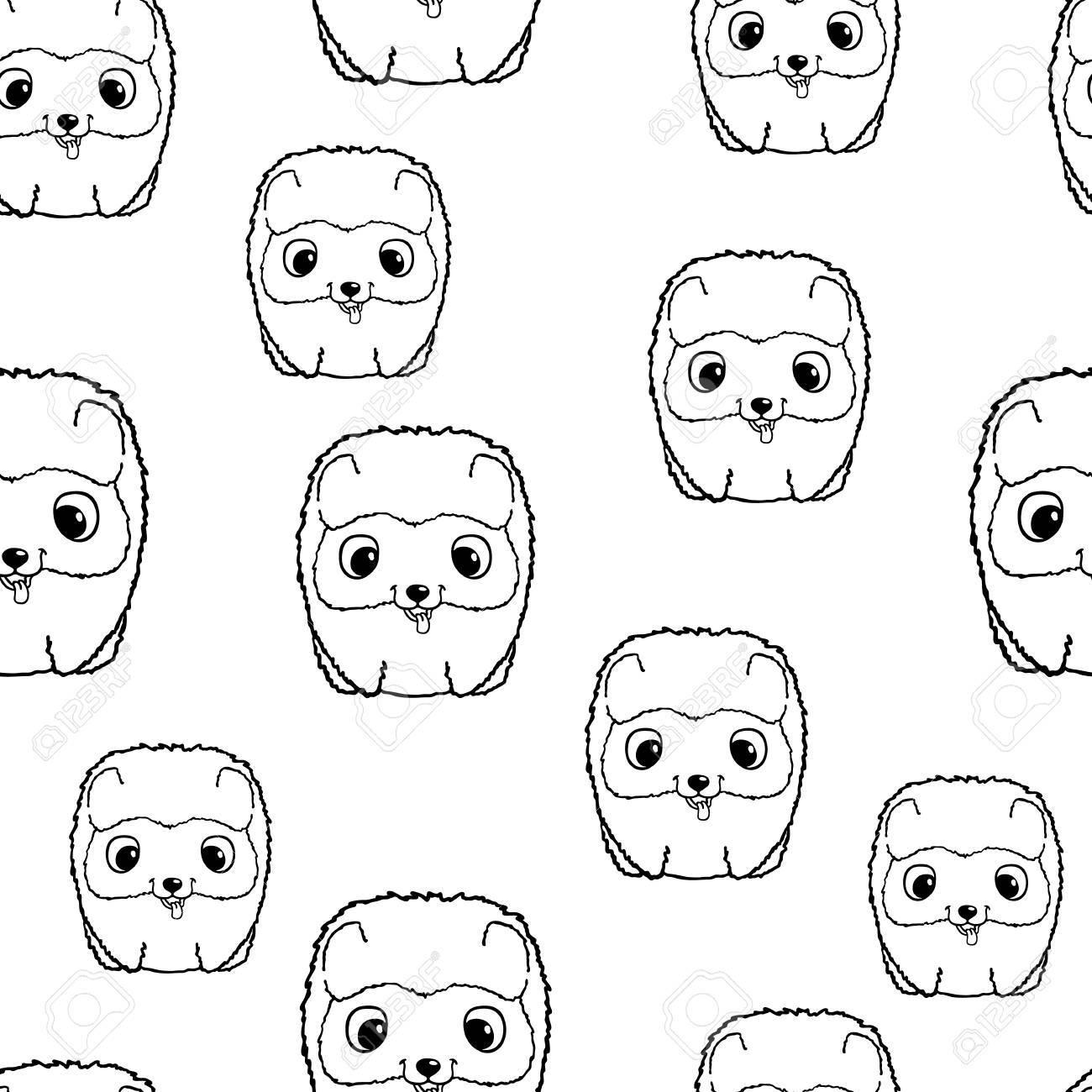 ポメラニアンの子犬とのシームレスなパターン。黒と白のベクトル図です