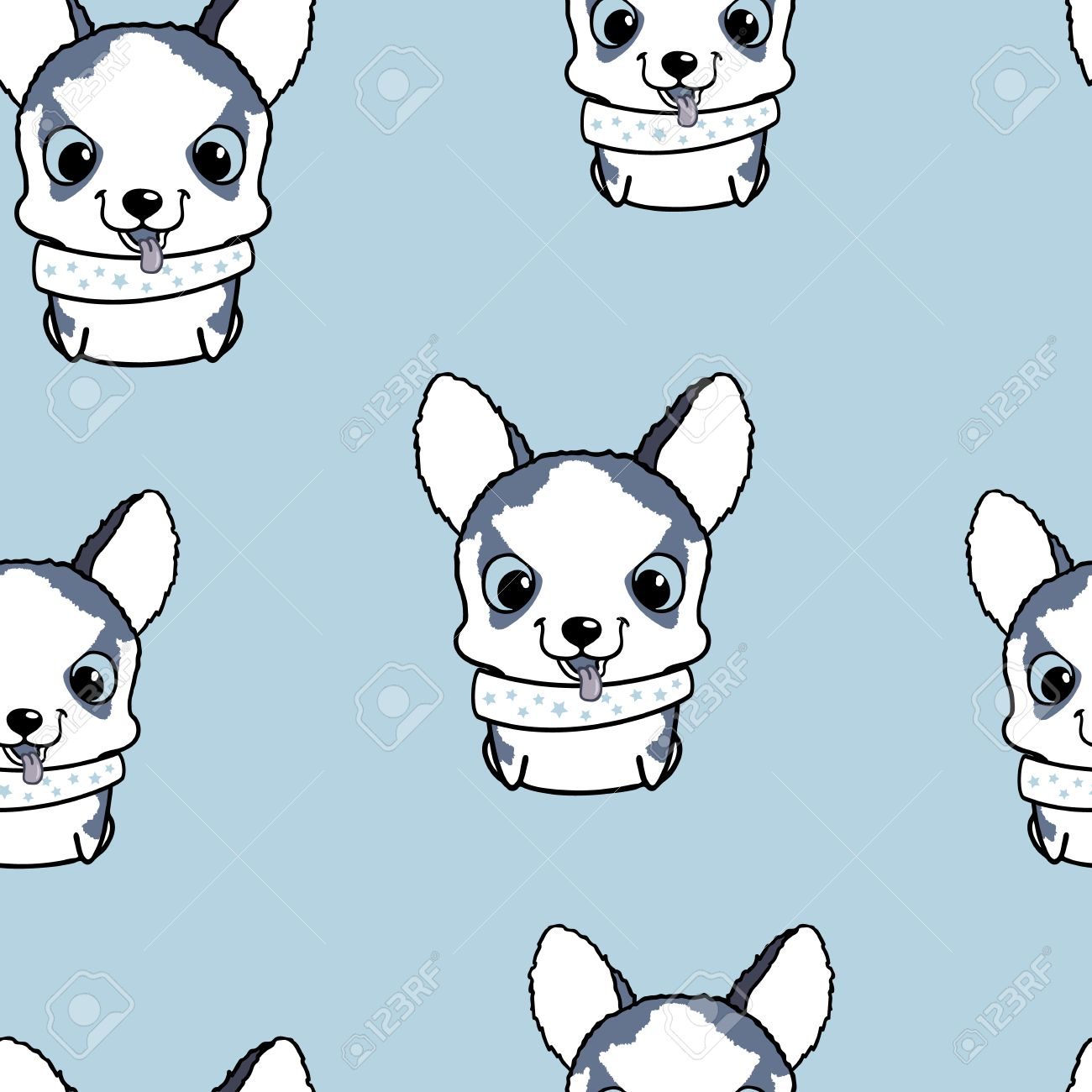 Seamless Pattern With Siberian Husky Puppies Vector Illustration