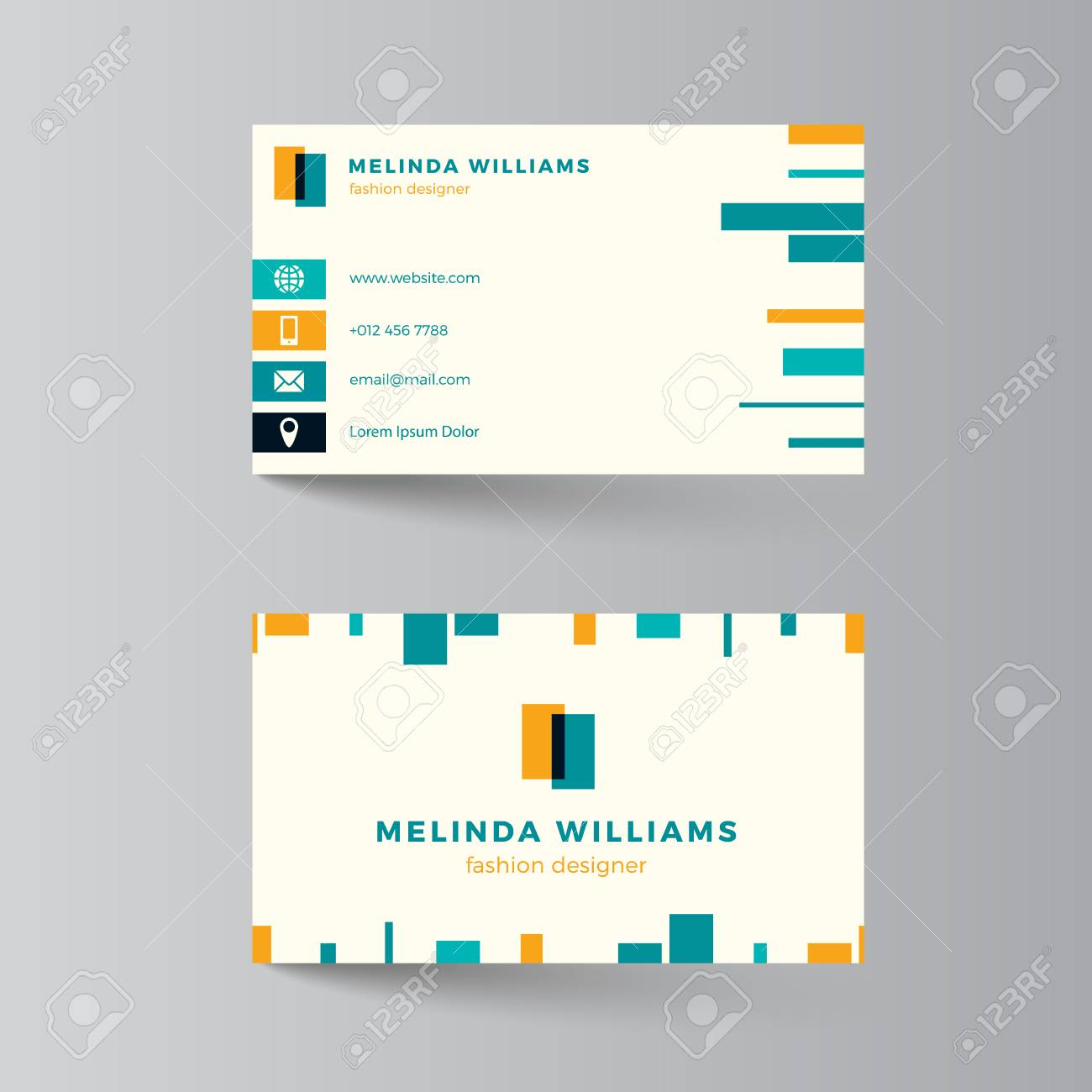 Business Card Layout Vector Illustration Turquoise And Yellow