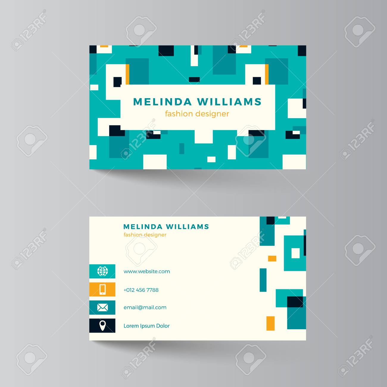 Business Card Layout Vector Illustration Turquoise And Yellow Template Clean Modern