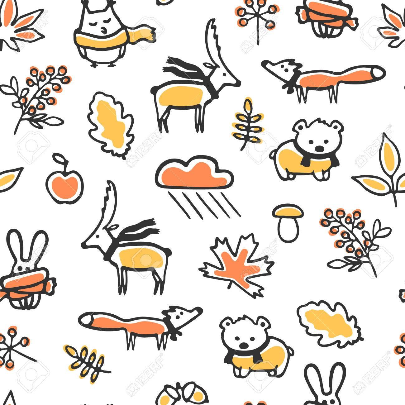 落書き秋イラストでシームレスなパターン。かわいい動物は、スカーフを