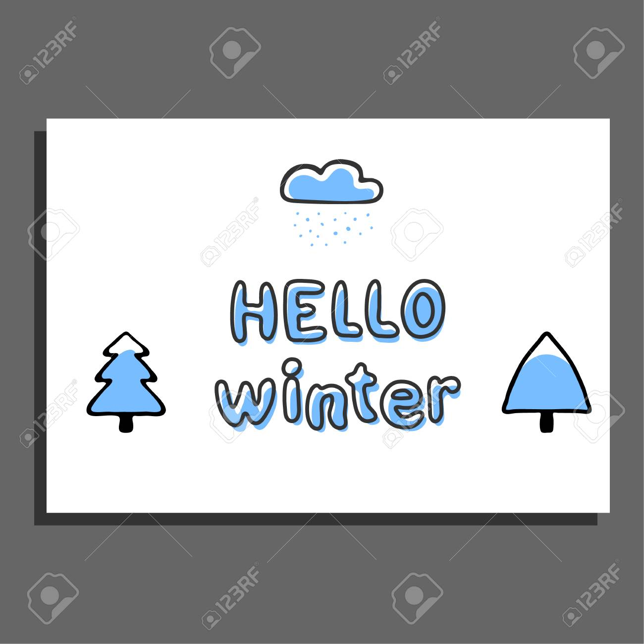 Hello Winter Greeting Card With Cloud And Snow Capped Trees