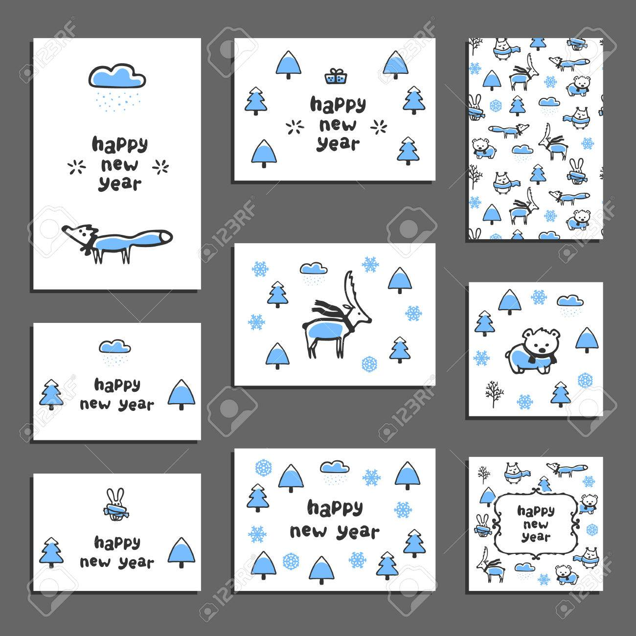 Set Of Happy New Year Greeting Cards. Vector Templates With Funny ...