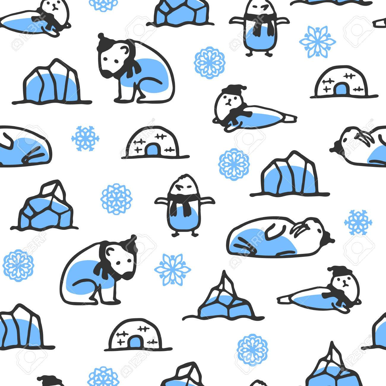 Seamless Pattern With Cute Doodle Seal Polar Bear And Walrus