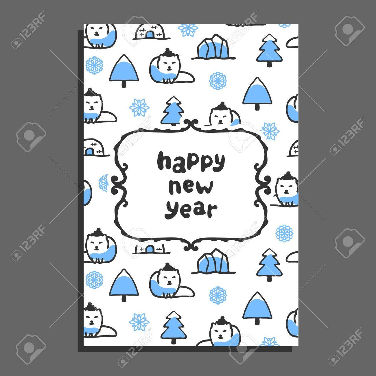 happy new year card template with cute cartoon polar fox vector