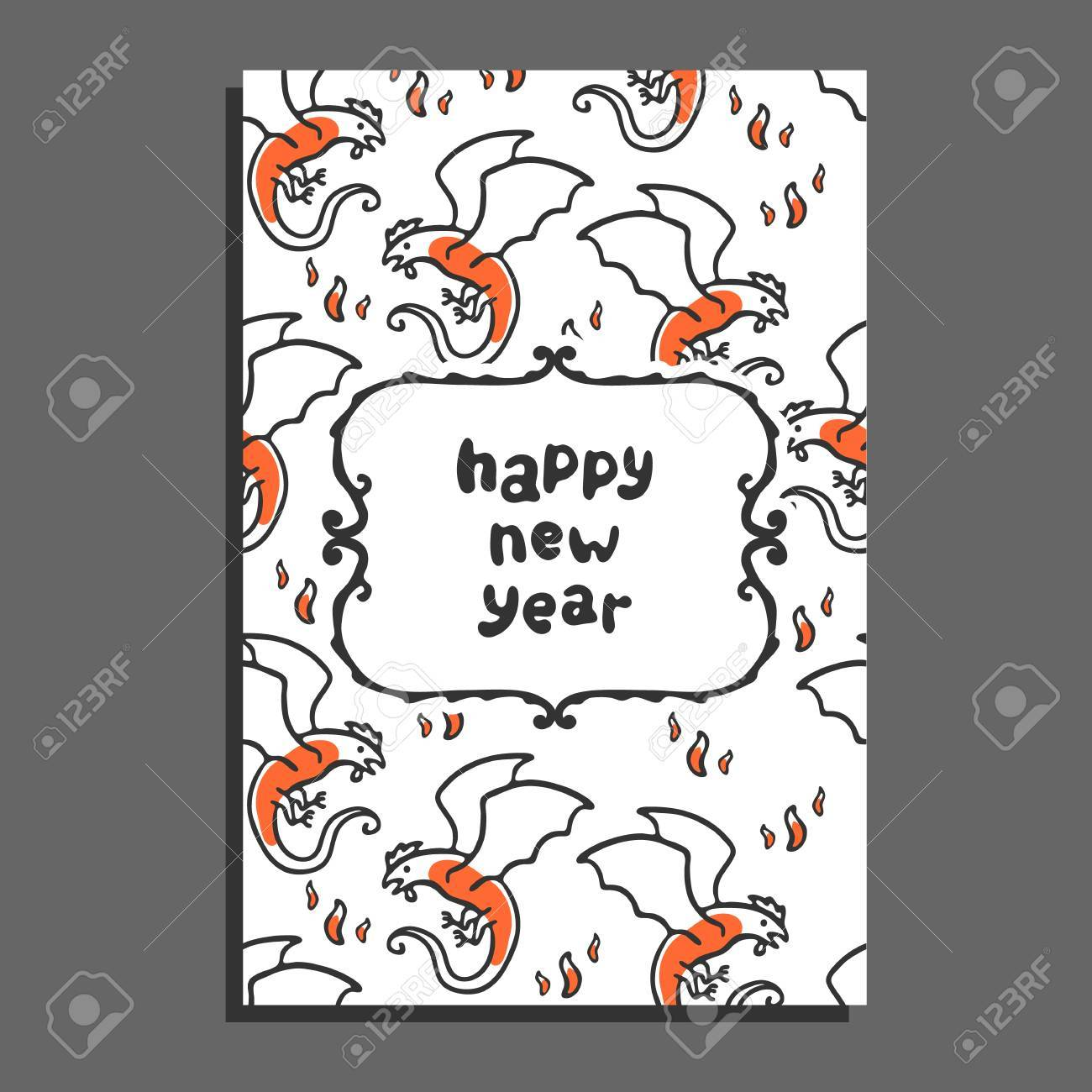 happy new year greeting card with basilisk and flames cute cartoon vector childish pattern on