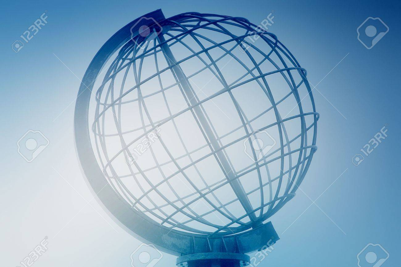 Large Spiral Iron Globe Landmark In North Norway. Globe Is Made ...